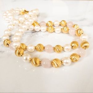 Vintage Napier Simulated Pearl Collar Necklace